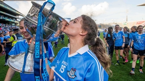 Dublin's Noelle Healy kisses the Brendan Martin Cup last September