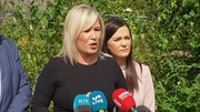 Michelle O'Neill addresses the media in Coalisland, Co Tyrone, ahead of Theresa May's visit