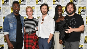 (L-R) David Ajala, Gretchen Mol, Eoin Macken, Jodie Turner-Smith and Angus Sampson promoting Nightflyers at Comic-Con International in San Diego on Thursday