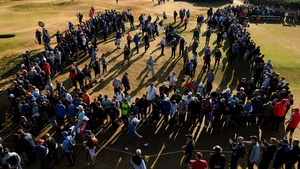 The crowds gather around defending champion Jordan Spieth