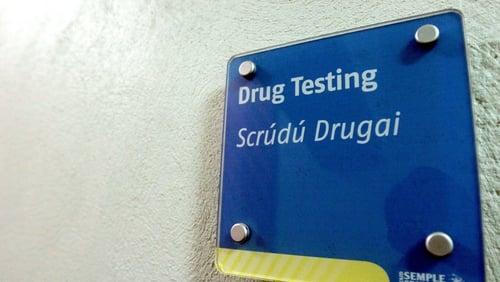 A drug testing sign at Semple Stadium