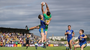 Donegal's Odhran Mac Niallais takes to the skies to win a high ball