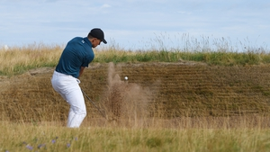 Jordan Spieth hits a bunker shot during the third round of the 147th Open Championship at Carnoustie