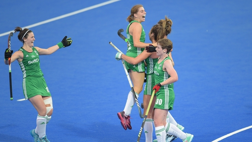 Deirdre Duke celebrates her second goal with her Ireland team-mates