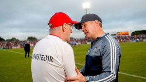 Gavin greets Harte after their quarter-final at Healy Park