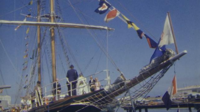 Asgard II docked in Arklow (1983)