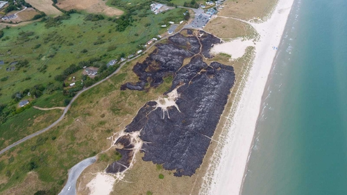 The beach was hosting the Leinster Open Sea race, which had to be abandoned due to the fire (Pic: The Surf Shack Curracloe)