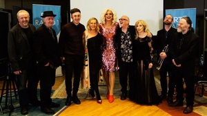 Panti Bliss with her parlour guests (L to R) - Tom Jamieson (drums), Ed Deane (guitar), Lewis Kenny, Katherine Lynch, Panti Bliss, Trevor Knight & Honor Heffernan, Bill Blackmore (trumpet) and Garvan Gallagher (bass)