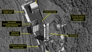 Satellite image courtesy of Airbus Defense and Space and 38 North shows the Sohae Satellite Launching Station