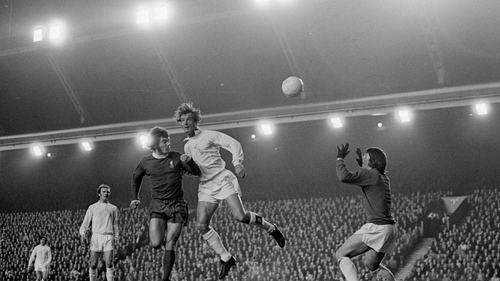 Paul Madeley in action for Leeds against Liverpool in 1972