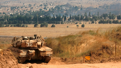 File image of an Israeli Merkava tank on the border between Israel and Syria