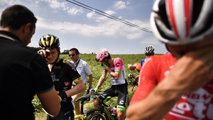 Tour de France riders affected by spray when police broke up a farmers' protest