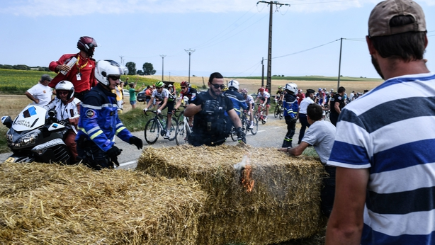 The Tour de France was halted by protesters on Tuesday afternoon