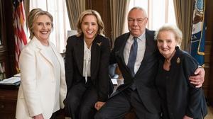 Hillary Clinton, Tea Leoni, Colin Powell and Madeline Albright on the set of Madam Secretary on July 11. Pic: @TeaLeoni