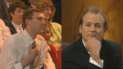 Jason Byrne asks Bill Murray a question on The Late Late Show