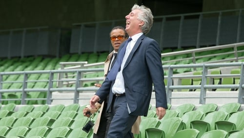 Delaney shares a laugh with former Dutch international Edgar Davids at the Aviva Stadium