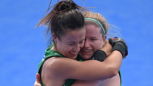Anna O'Flanagan (L) celebrates with Shirley McCay after the win against India