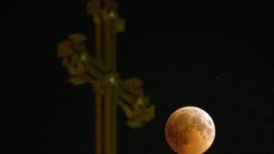 Image of the 'blood moon' taken as it passes over an Armenian Apostolic Church cathedral in Yerevan