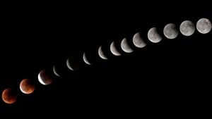 A sequence of the lunar eclipse captured on Tenerife