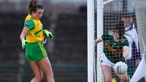 Eilis Lynch of Kerry can't prevent the ball going over the line for a goal scored by Eilish Ward of Donegal