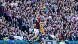 Conor Cooney and Patrick O'Connor battle for possession at Croke Park