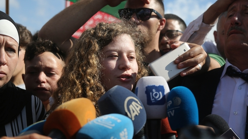Ahed Tamimi speaks to the media after her release