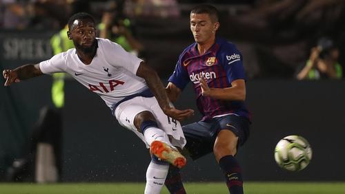 Georges-Kevin N'Koudou of Tottenham in action against Barcelona