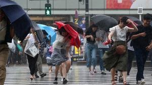 Typhoon Jongdari brought winds of up to 180kms per hour
