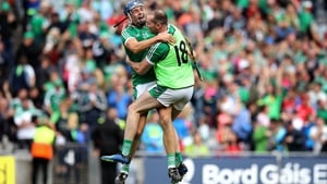 Limerick's David Reidy and Tom Condon celebrate victory over Cork
