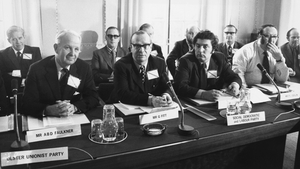 Brian Faulkner, designated leader of Ulster's Executive, Gerry Fitt and John Hume, during the Irish Unity conference