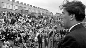 Addressing a peace meeting in Derry following violence at the Apprentice Boy Parade in 1969