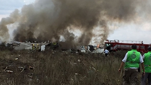 Emergency personnel at the site of the Aeromexico plane crash