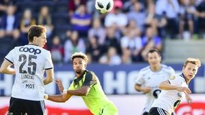 Scott Sinclair vies for possession in the goalless draw against Rosenborg