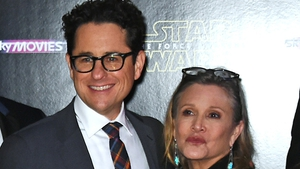 JJ Abrams and Carrie Fisher at the premiere of Star Wars: The Force Awakens in London in December 2015