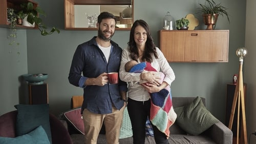 Jacinda Ardern and partner Clarke Gayford pose with their baby daughter Neve