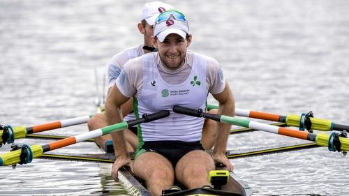 Ireland's Paul O'Donovan (front) and Gary O'Donovan after their win