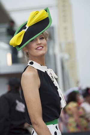 Fiona Morgan Coleman wore a beautiful ensemble with polka dot print throughout