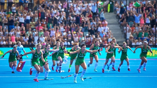 Ireland players rejoice after winning the shootout.