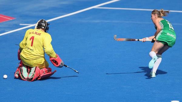 Gillian Pinder scores during the penalty shoot-out victory over Spain