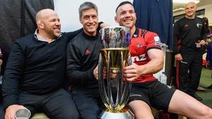 (L-R): Jason Ryan, Ronan O'Gara and Ryan Crotty pose with the trophy