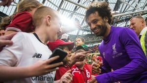 Mo Salah mingles with the fans at the Aviva Stadium