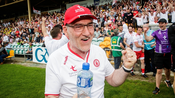 Mickey Harte celebrates after leading Tyrone to another All-Ireland semi-final