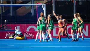 Kelly Jonker celebrates scoring the second goal for the Netherlands