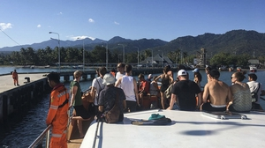 People being evacuated from the Gili Islands