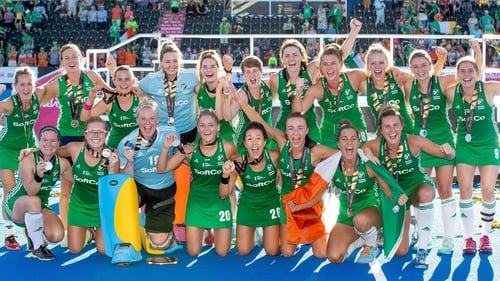 The Ireland team celebrate with their medals