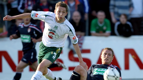 Gary Cronin (L) in action for Bray  in 2008