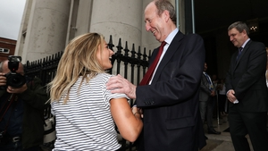 Ireland hockey star Chloe Watkins with Minister for Transport, Tourism and Sport Shane Ross