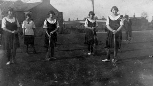 St Mary's camogie team from East Wall, Dublin in the 1920s. Photo used by kind permission of East Wall For All/David Whittaker http://eastwallforall.ie