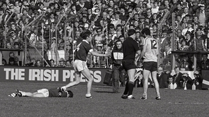 Kieran Duff about to be sent off by referee John Gough early in the second half of the All-Ireland football final