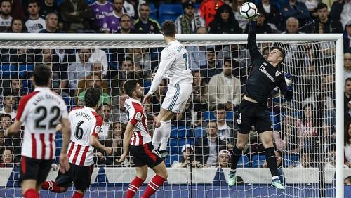 Kepa Arrizabalaga in action for Athletic Bilbao, saving a Ronaldo header